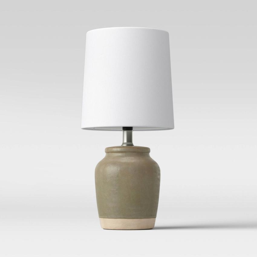 Olive Green Textural Ceramic Mini Lamp - Threshold™