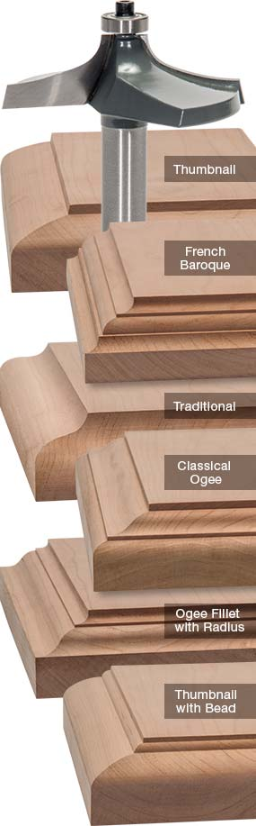 Here is an example of the different type wood routed edges you can make.