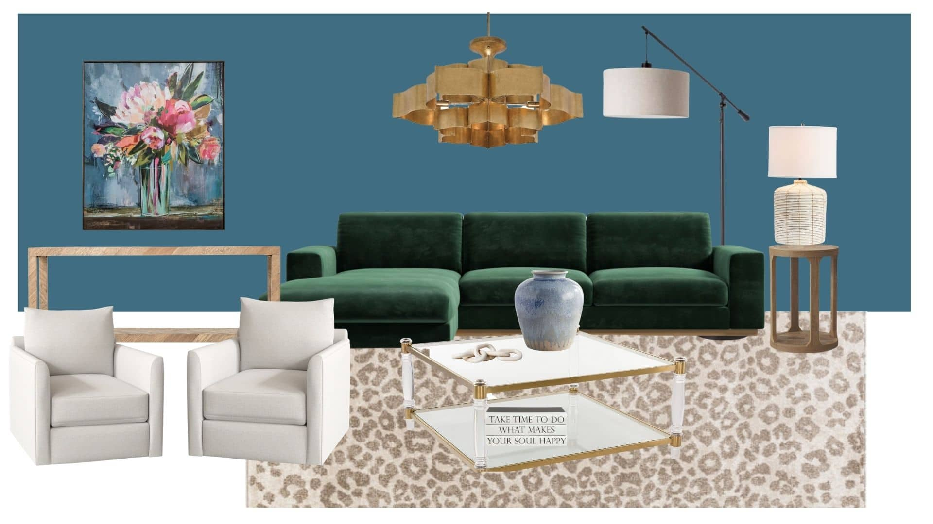 The room mood board for the family room, including Boutique Rugs area rug in leopard print, green sofa, alice swivel armchairs.