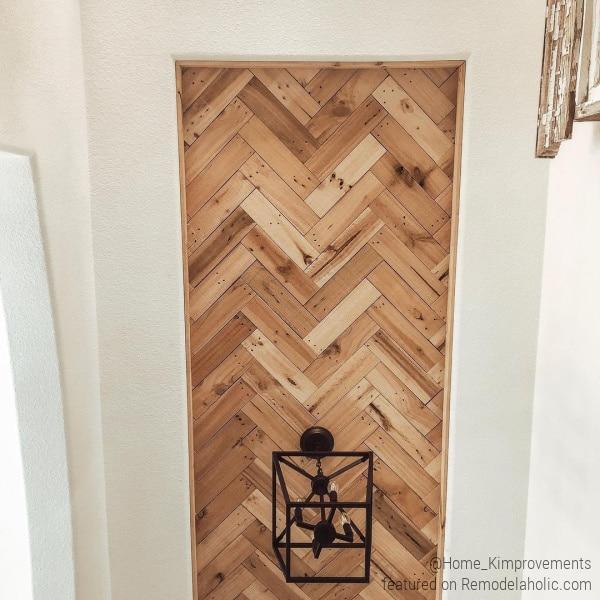Herringbone wood ceiling detail