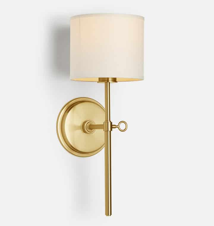 Gorgeous Sconces: Shaded drum traditional brass wall sconce