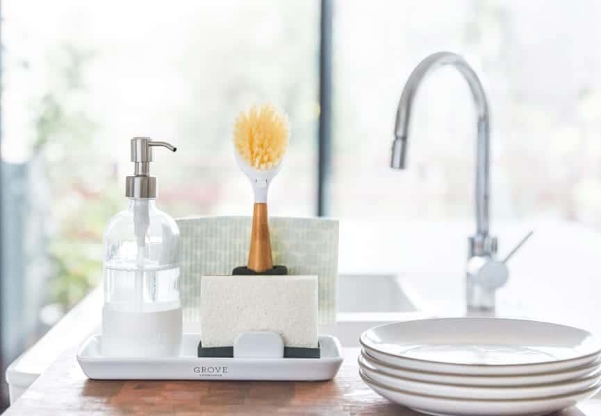 GROVE CO. Sink Caddy & Modern Stoneware Tray Set
