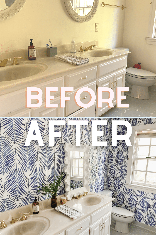A fresh coastal kids bathroom update showcasing blue palm leaf peel and stick wallpaper.