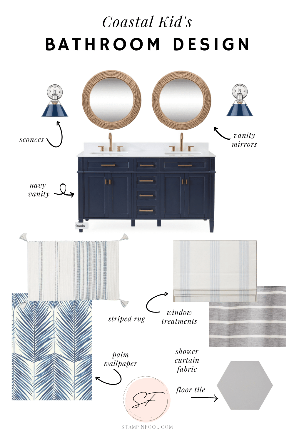 Kids Coastal Bathroom Design Mood Board with blue vanity, blue palm leaf wallpaper and nautical rope mirrors.