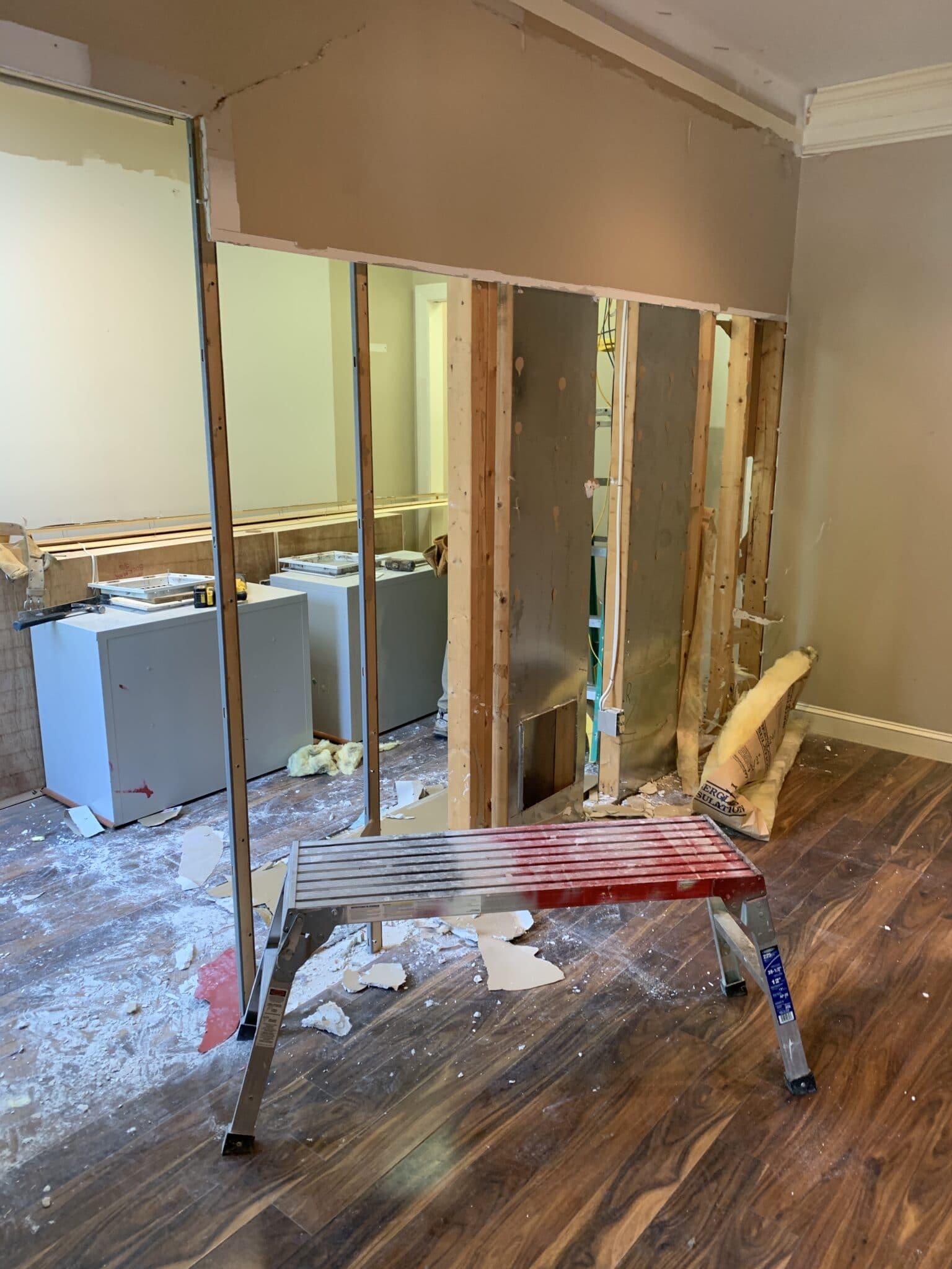 Behind the scenes: Williamsburg Interior Designer April Waltrip Interiors- Office remodel demo before construction begins.