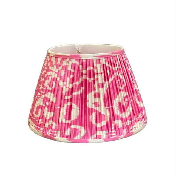 Types of Lamp Shades: Designer fabric gathered or pleated lamp shade example