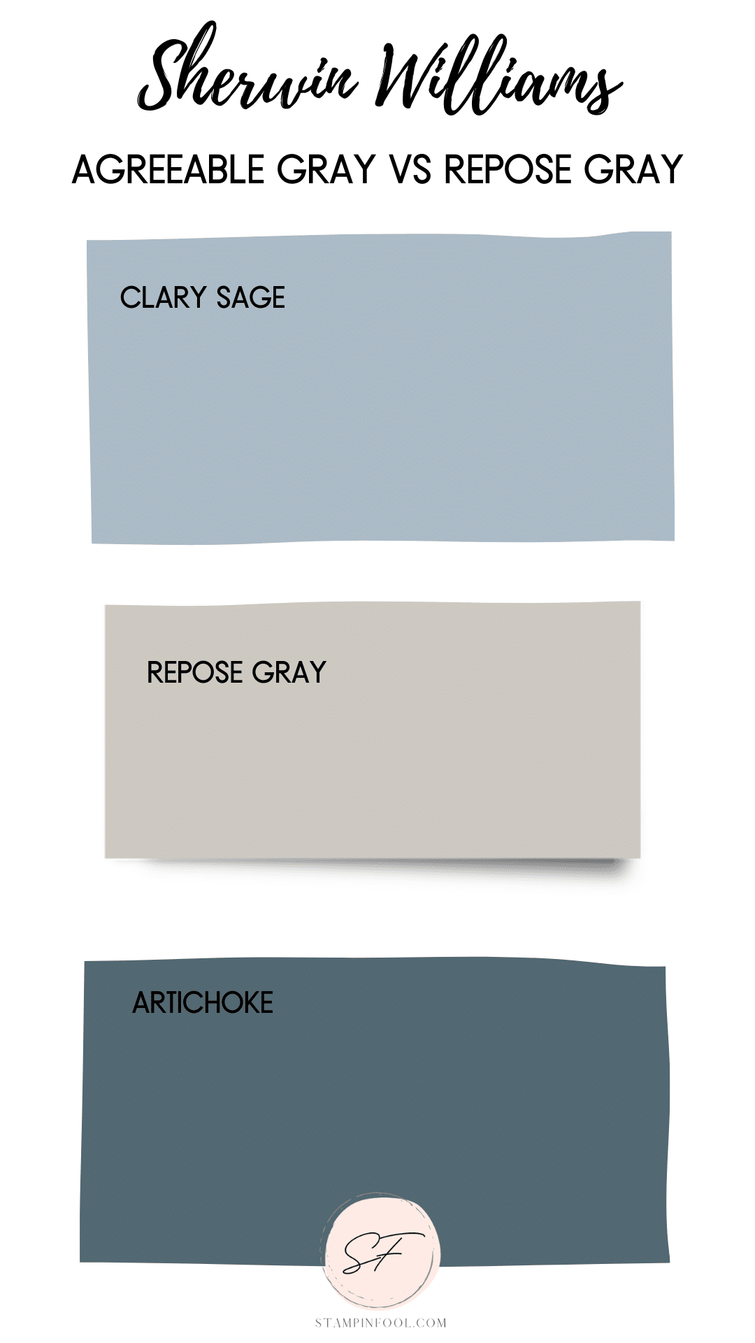 Sherwin Williams Repose Gray, this cool gray color, has undertones that are purple and blue gray.
