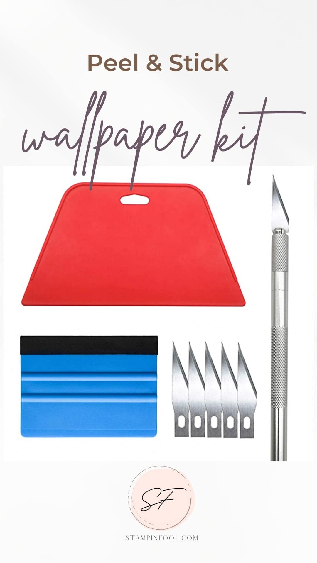 Peel and Stick wallpaper hanging kit with supplies from Amazon