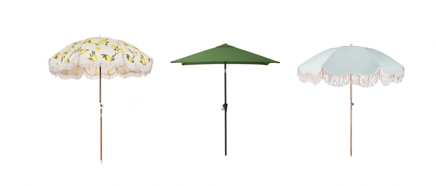 Patio umbrellas come in many shapes from round to square and rectangular in lemon print fabric, or blue with fringe