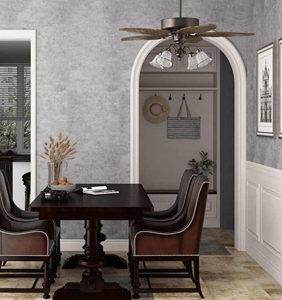 Gray concrete looking wallpaper in a dining room
