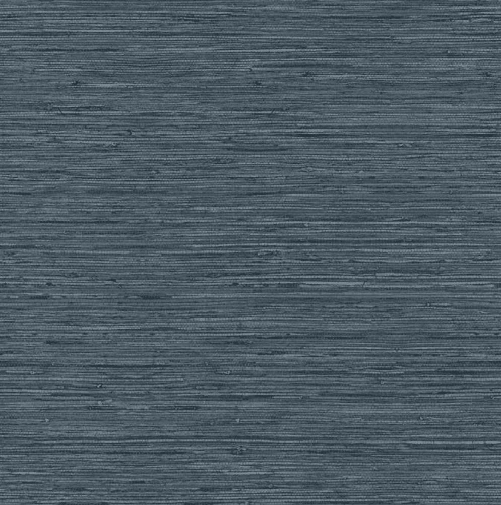 Dark blue grasscloth peel and stick wallpaper