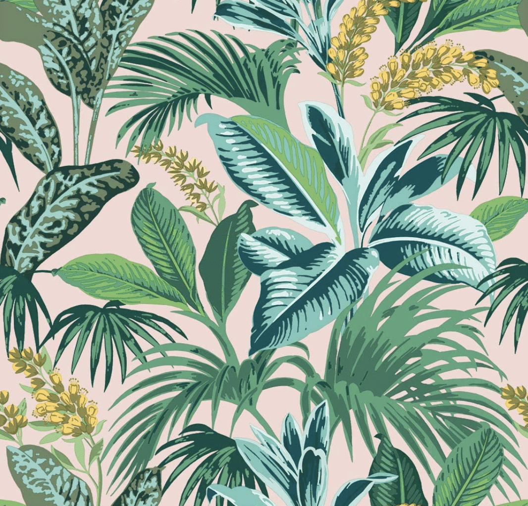 Pink and green palm print wallpaper