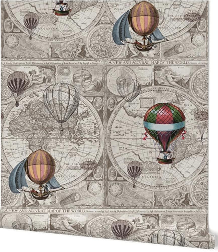 Parisian Hot Air Balloon Wallpaper Mural