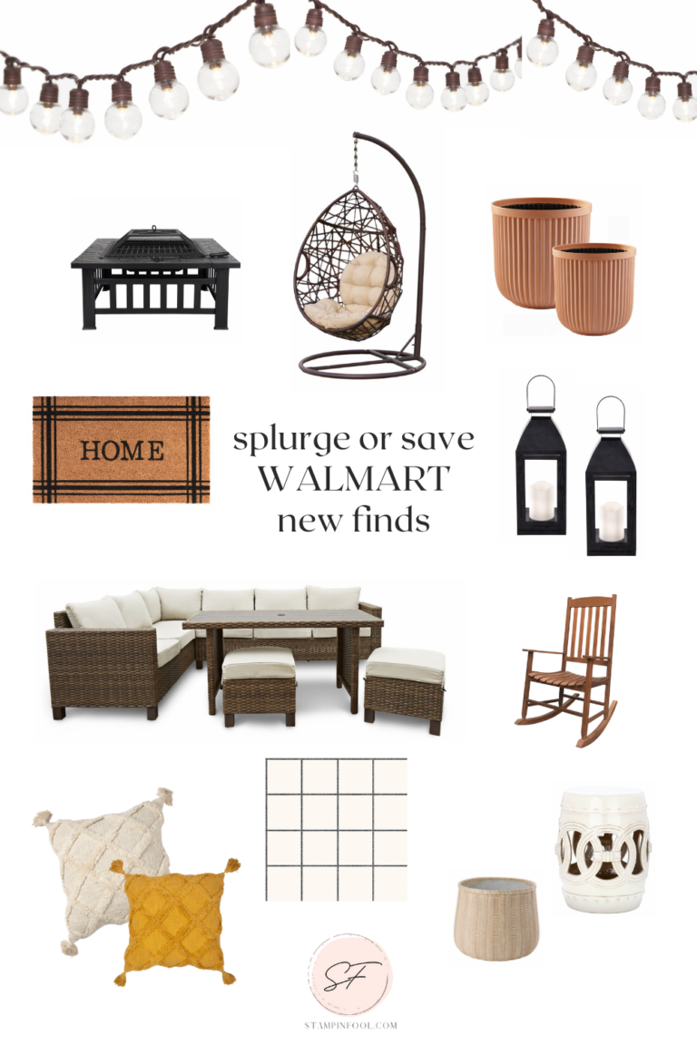 Affordable Fall decor at Walmart to get your patio or deck decorated for fall includes an outdoor sofa, fire pit, outdoor rug, planters, lanterns and string lights.