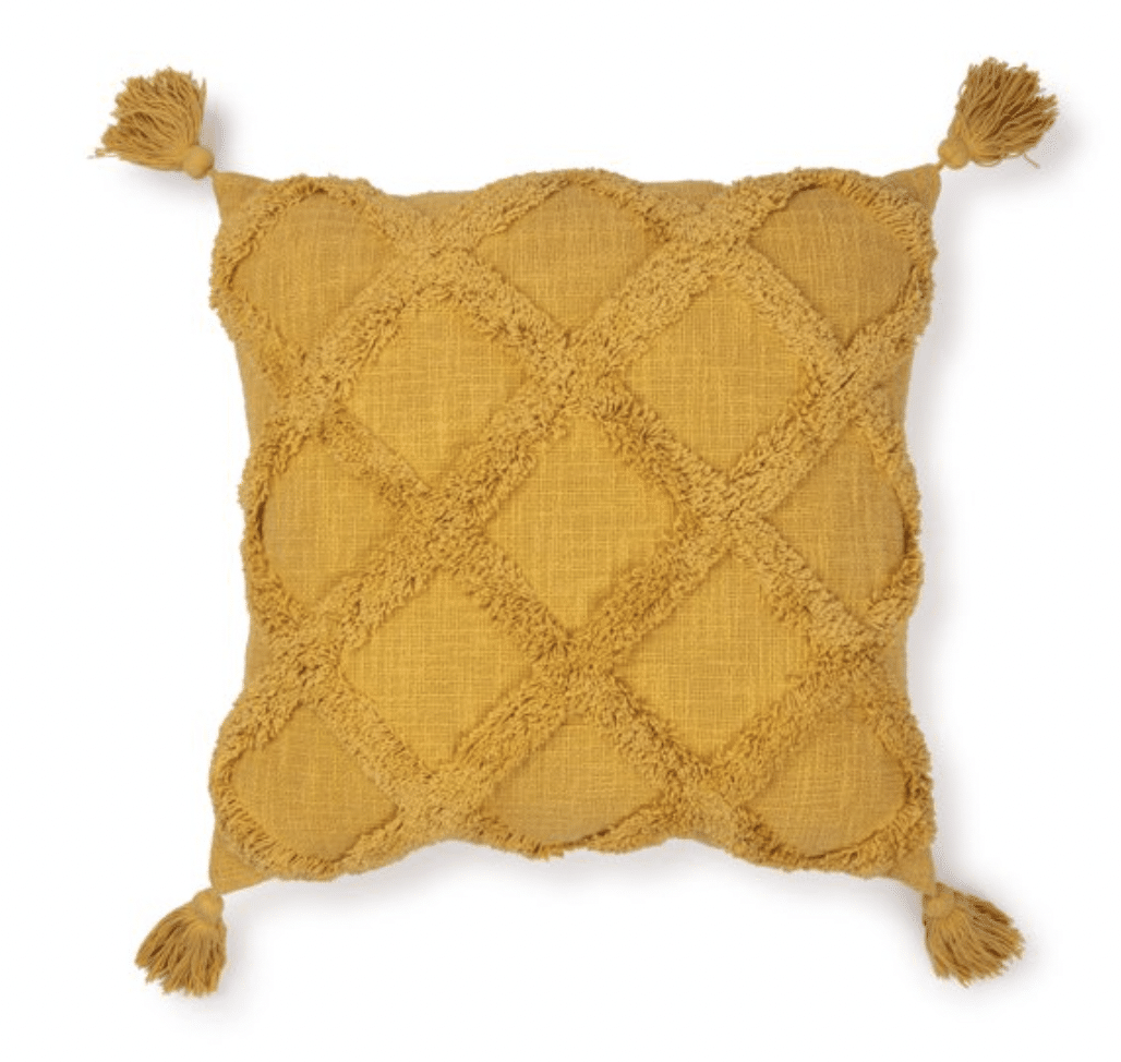 Yellow, golden curry or mustard colored throw pillows from Walmart for your fall decor