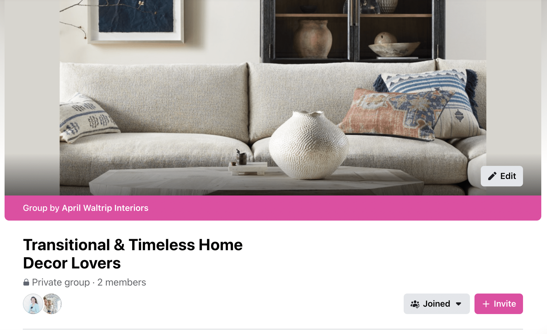 Transitional & Timeless Home Decor Lovers Facebook Group