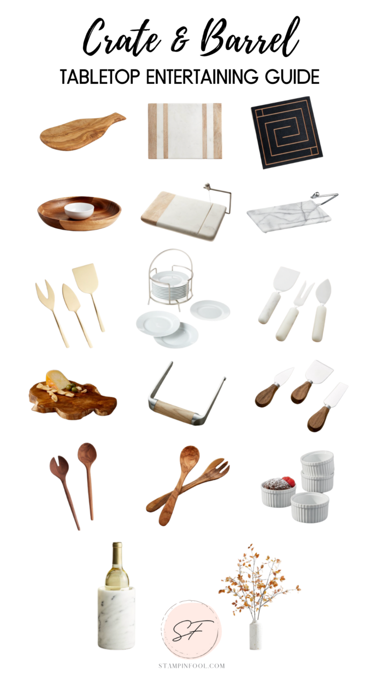 Crate & Barrel best tabletop entertaining pieces of serveware and cheese boards.
